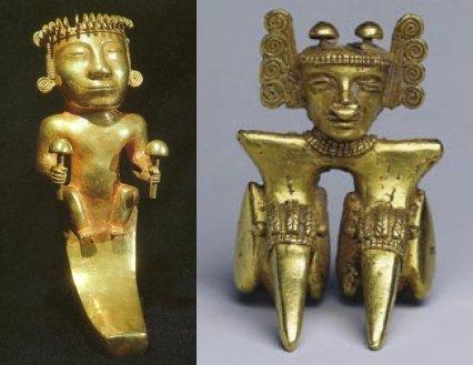 Oggetti d'oro della cultura Quimbaya, Colombia, 400-700 d.C., con raffigurazioni di funghi (sx da Johnson, 1992, fig. a, p. 112; dx da Torres, 2006, fig. 6, p. 58)