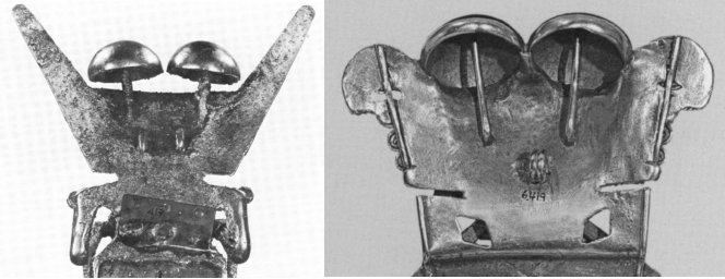 Parte posteriore di due pettorali di Darien, con evidenziati i gambi dei probabili funghi (sx da Schultes, 1979, tav. 34, p. 136; dx da Falchetti, 2008, fig. 50, p. 54)