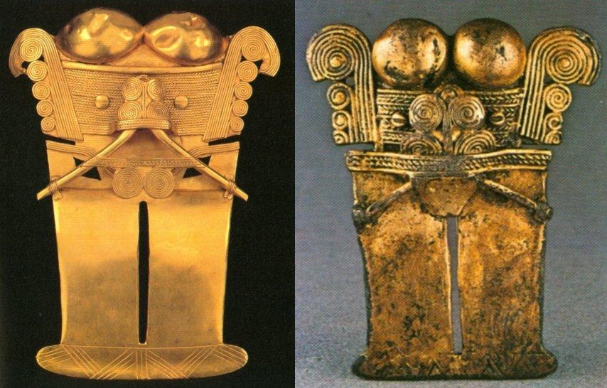 Tipologia 8 dei pettorali di Darien: (sx) alt. 12,5 cm, da Mangon, 2000, fig. 163, p. 207); (dx) alt. 8,5 cm, da Domenici, 1981, fig. cat. 202, p. 57