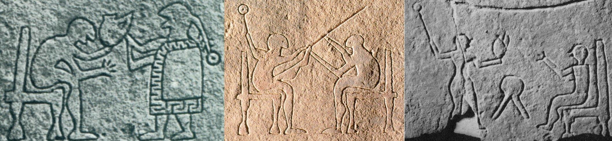 Scene di cura incise sulle statue-stele daunie (sx e dx da Nava, 1988, p. 25; centro da Tunzi, 2011, p. 46)