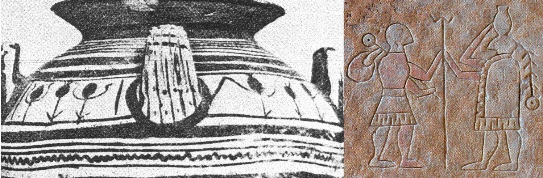 """(sx) Parte di una olla daunia da una tomba del sito di Ascoli Satriano (Foggia) (da de Juliis, 1984, tav. XXVIId); (dx) scena di """"commiato"""" da una stele daunia (da Tunzi, 2011, p. 70)"""