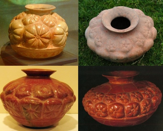 Recipienti di ceramica in stile Comala (Colima) con protuberanze in forma di peyote