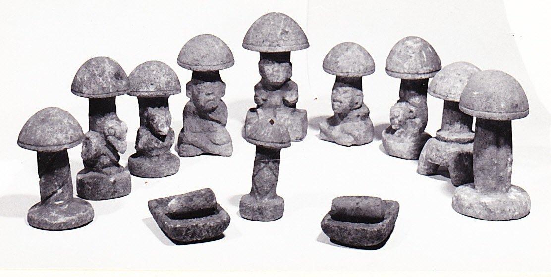 """La serie delle nove piccole pietre-fungo trovate nel sito di Kaminalijuyu, Guatemala, insieme a due dei nove gruppi di """"metate"""" (macine) e """"mano"""" (pestello cilindrico) incontrate in associazione con le pietre-fungo (da Borhegyi, 1961, fig. 1, p. 499)"""
