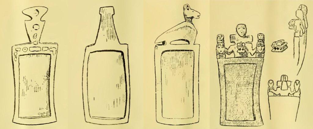 Tavolette da fiuto venute alla luce alla fine del XIX secolo in Argentina. Le prime tre dal sito di Santa Catalina, JuJuy, e l'ultima dal sito di Quilmes, Valle de Yocavil. Quest'ultima fu pubblicata per la prima volta nel 1896 (da Ambrosetti, 1901, figg. 18-20 e fig. 13)