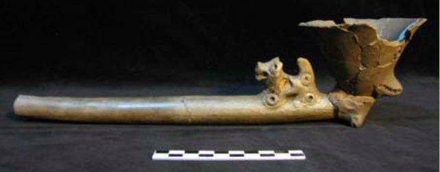 La pipa del sito di Cordonal (Catamarca, Argentina), del I secolo d.C., in cui è stata ritrovata 5-MeO-DMT (da Bugliani et al., 2010)