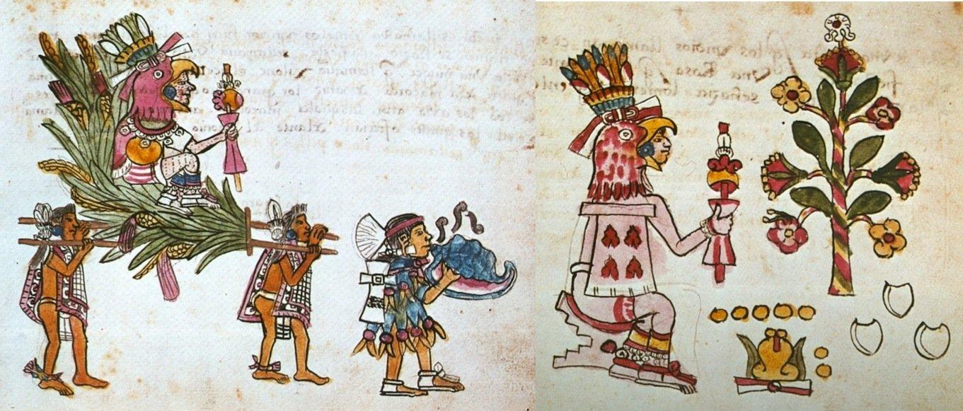Raffigurazioni di Xochipilli dal Codice Magliabecchi: (sx) 35r; (dx) 47r