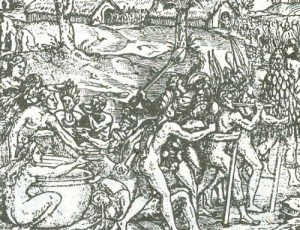 Bevuta collettiva del cauim presso i nativi di Cao Frío (da Thevet, 1557-58)