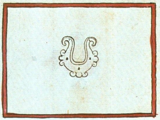 Ome Tochtli, 2 Coniglio, è il nome calendarico degli dei del Pulque, con il caratteristico monile da naso in forma di mezza luna (yacameztli). Dal Codice Magliabecchi, IVv