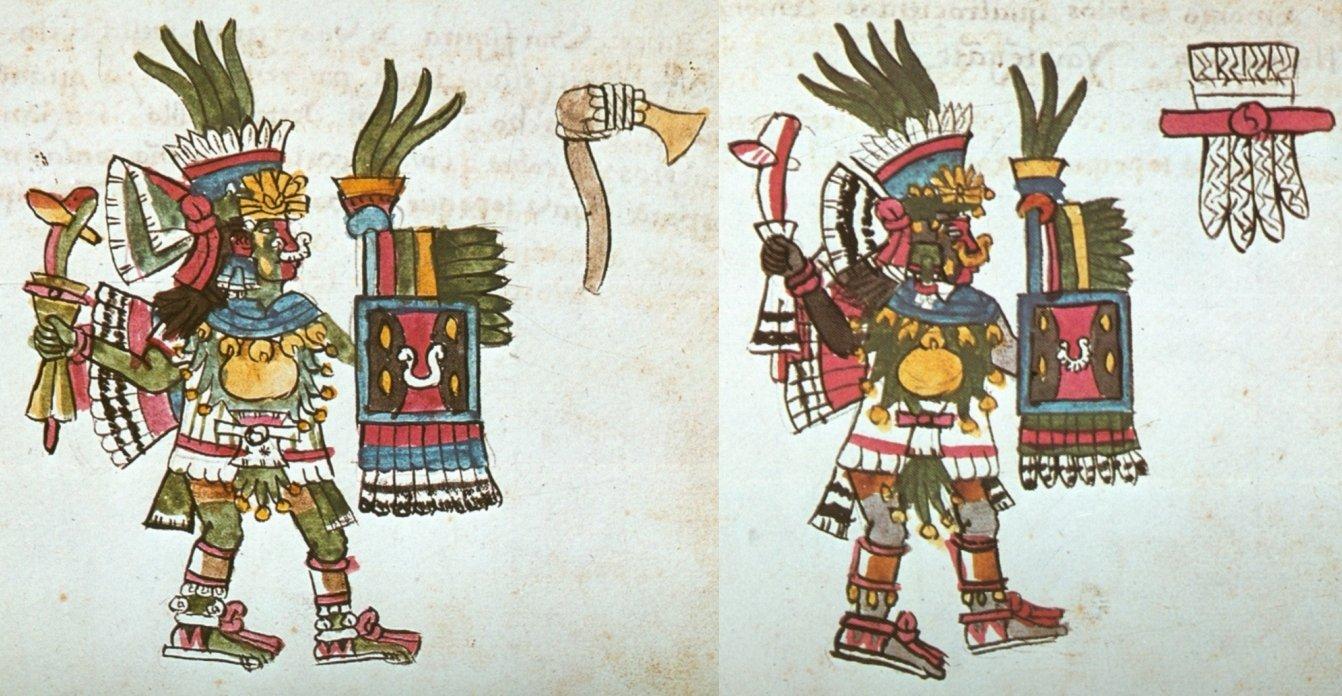 Due divinità del pulque: (sx) Tepoztécatl; (dx) Papáztac. Dal Codice Magliabecchi, 49r e 50r