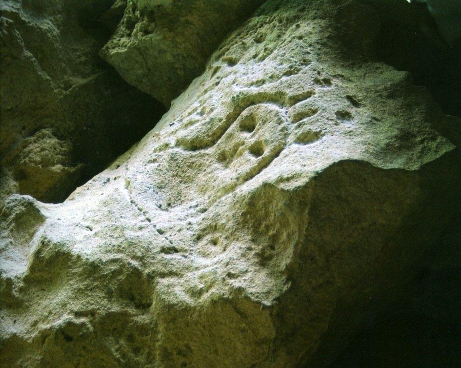 Petroglifo della Cueva de Berna (Repubblica Dominicana), raffigurante un cemí, che diventava corporeo sotto effetto della cohoba (da Oliver, 2008-9, fig. 29, p. 176)