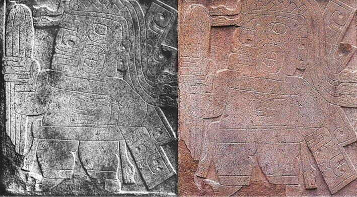 Bassorilievo di Chavín de Huantar (Anchas, Peru), altezza 80 cm (sx: da Sharon, 1980, fig. 4-6; dx: da Salvini, 1994, p. 105)