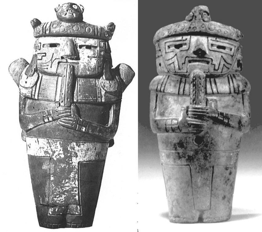 Figure umane con copricapo di pelle di giaguaro che tengono fra le mani un cactus di San Pedro. Cultura Cupisnique. (sx) altezza 20 cm, da Coe et al., 1987, p. 178; (dx) da Sharon, 2001, fig. 25, p. 43