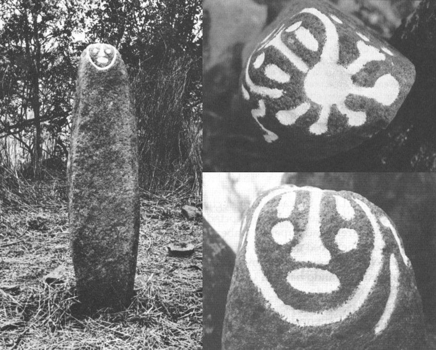 (a sinistra) Monolito di El Toldo, presso Samanga, provincia di Ayabaca, Perù settentrionale. Nella parte superiore è inciso un viso antropomorfo. E' stato interpretato come una rappresentazione del cactus allucinogeno San Pedro (Polia Meconi, 1986-87, fig. 7, p. 136; (a destra, sopra) vista dall'alto; (a destra, in basso) particolare del viso inciso nella parte superiore (Polia Meconi, 1995, p. 183-4).
