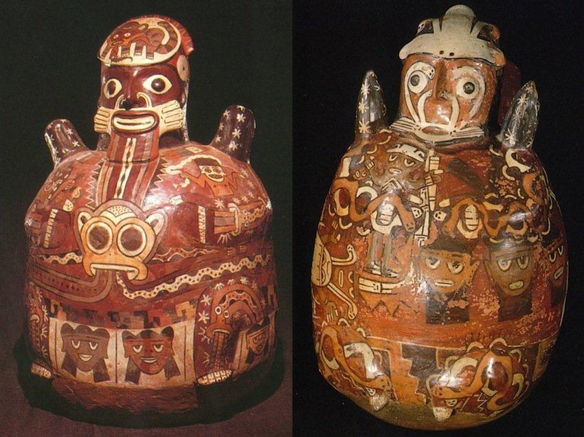 Cultura Nazca, Perù. Altezza circa 40 cm. (sx da Coe et al., 1987, p. 183; dx da Johnson, 1992, p. 122)