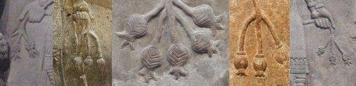 Alcuni oggetti tenuti in mano dai geni dei bassorilievi assiri