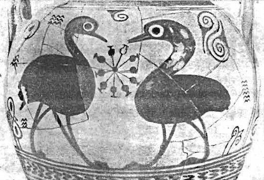 Anfora proto-attica venuta alla luce durante gli scavi dell'Agora di Atene (da Kritikos & Papadaki, 1963, fig. 36, p. 119)