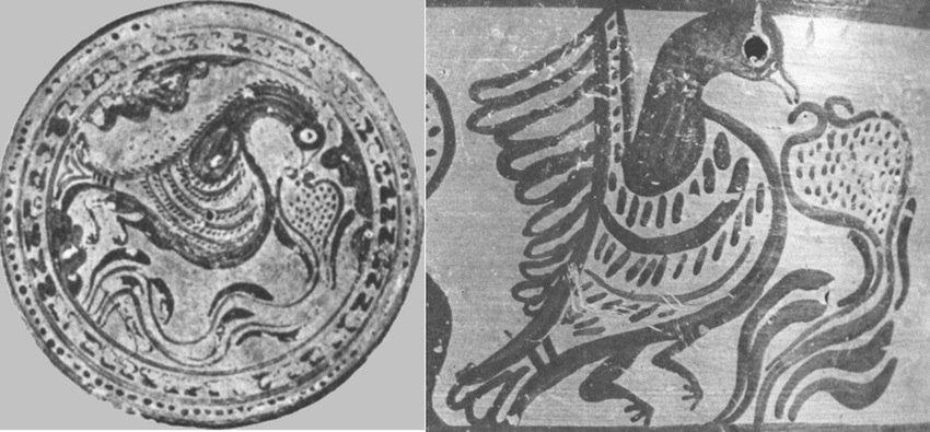 (sx) Coperchio di una pisside minoica ritrovata a Pachyammos, Cipro; (dx) particolare di una pittura da un vaso minoico (da Demargne, 1988, fig. 309 e 312)