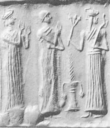 Sigillo accadico con raffigurazione di Meslamta-ea, una divinità di Lagash, che tiene in mano un mazzo di tre capsule di papavero da oppio. III millennio a.C. (da Collin, 2005, fig. 567, p. 133).