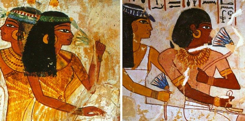 Personaggi nell'atto di annusare un fiore di ninfea azzurra: (sx) Tomba di Nakht; (dx) Tomba di Sennefer. Entrambi della XVIII Dinastia (da Bongioanni, 2005, pp. 254 e 280)
