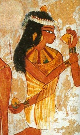 Particolare di un affresco della Tomba di Nakht, Tebe, XVIII Dinastia, con raffigurazione di una donna che tiene in mano e che riceve frutti di mandragora (da Bongioanni, 2005, p. 254)