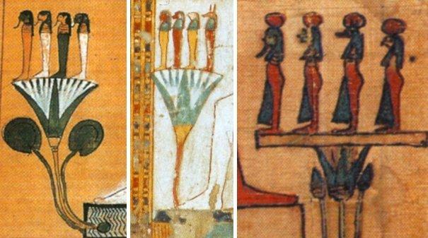 Dipinti dei quattro figli di Horus che stanno su un fiore di ninfea azzurra: (sinistra) dal Libro dei Morti di Hunefer, XIX Dinastia (Wilkinson, 2003, p. 85); (centro) dalla tomba tebana di Kenro (Robins, 2000, fig. 215, p. 182); (destra) da un Libro dei Morti di epoca tolemaica (Scandone Matthiae, 2006, p. 101)