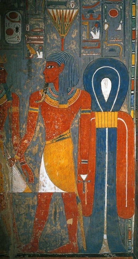 Il dio Nefertum raffigurato nella tomba di Horemheb della XVIII Dinastia. Ha sulla testa un fiore di ninfea azzurra (da Wilkinson, 2003, p. 133)