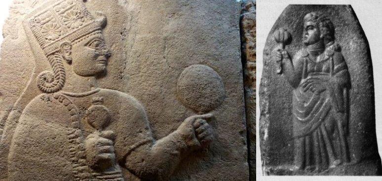 (sinistra) Ortostato ittita con raffigurazione della dea Kubaba, Museo Archeologico di Ankara; (destra) raffigurazione di Juno Dolichena, da Khaltan, Siria (da Hnila, 2002, fig. 11, p. 323)