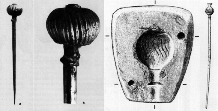 Da sinistra: spilla dorata da Kültepe-Kanesh, lunghezza 9 cm; stampo anatolico di provenienza ignota; spilla da Boğazköy (da Hnila, 2002, figg. 2, 3, 5)