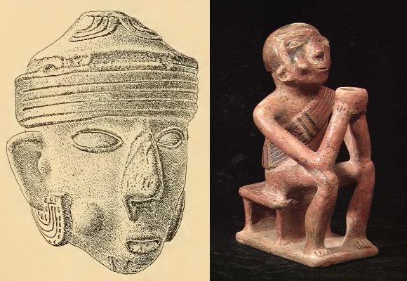 (sx) Testina in terracotta che evidenzia sulla guancia la protuberanza causata dal bolo di coca. Provenienza Ecuador (Saville, 1910, Tav. CXII.5); (dx) tipica ceramica della cultura Capuli