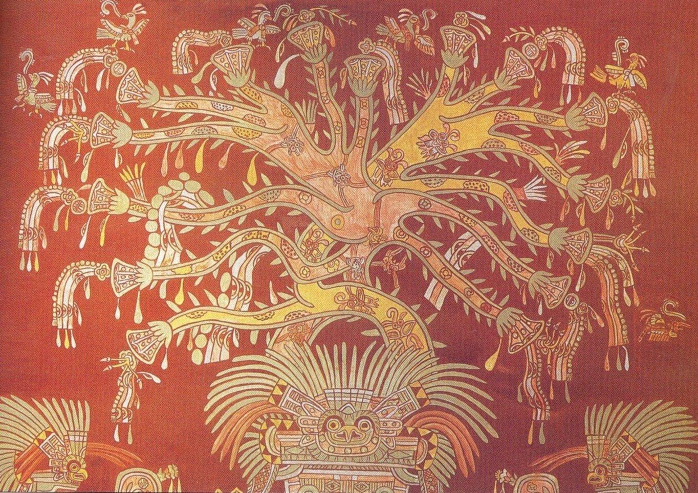 Particolare della ricostruzione dell'albero cosmico dell'affresco di Tepantitla