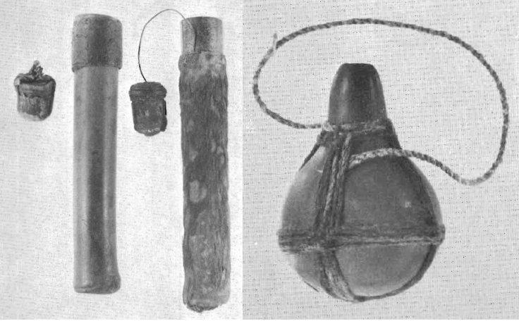 Contenitori: (sx) di bambu, con tappo; (dx) zucca di Lagenaria vulgaris (da Wassén, 1972, figg. 18 e 21, pp. 75 e 78)