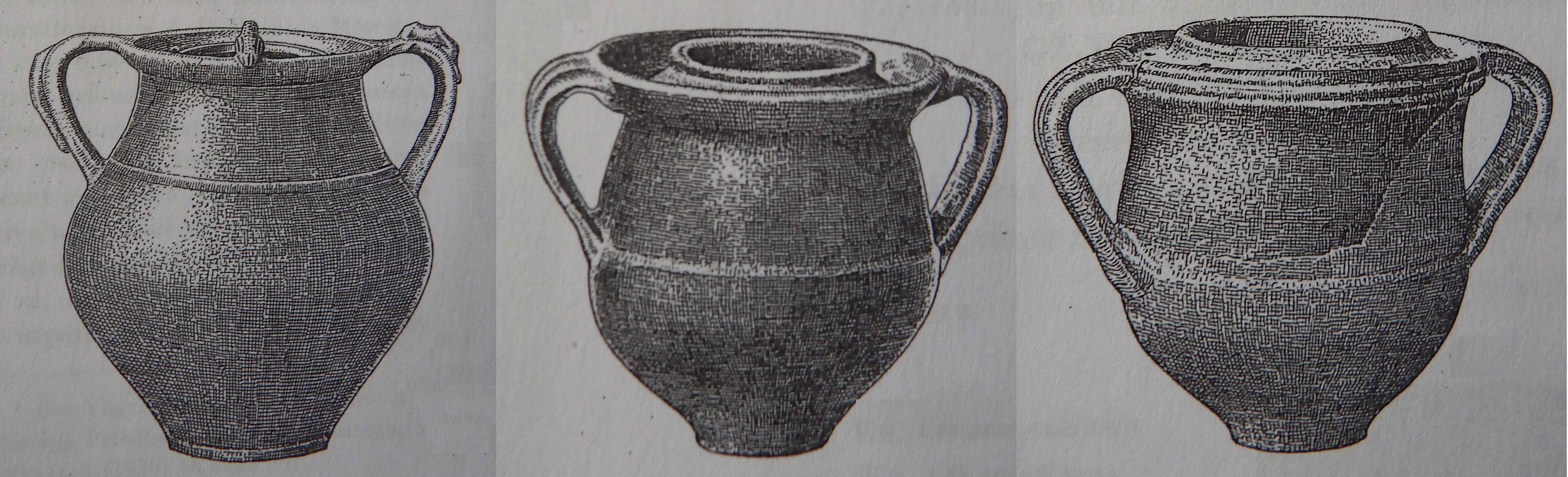 """Vasi """"di culto""""  dagli scavi del sito legionario di Mainzer. Età imperiale romana (da Behrens, 1952, figg. 1-3, p. 112)"""