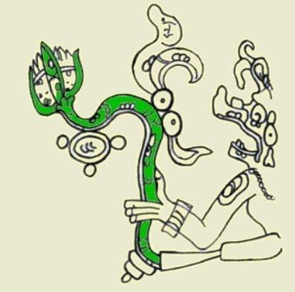 Raffigurazione del dio Chahk che tiene in mano una pianta di ninfea (da McDonald & Stross, 2012, fig. 8g, p. 91. Il colore verde è stato da me inserito per evidenziare la ninfea)