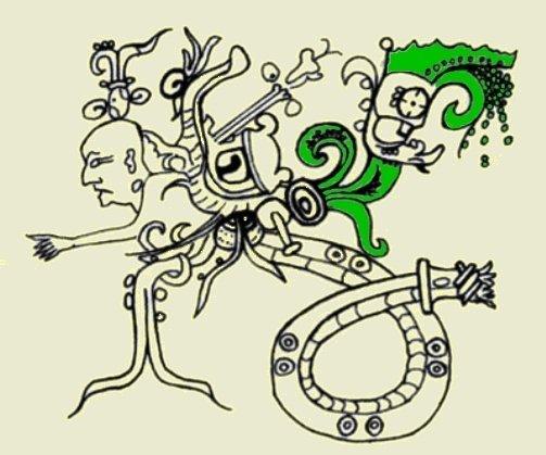 """Raffigurazione del """"dio C"""". Notare il fluido itz che fuoriesce dal fiore di ninfea (da McDonald & Stross, 2012, fig. 7d, p. 90. Il colore verde è stato inserito da me per evidenziare la ninfea)"""