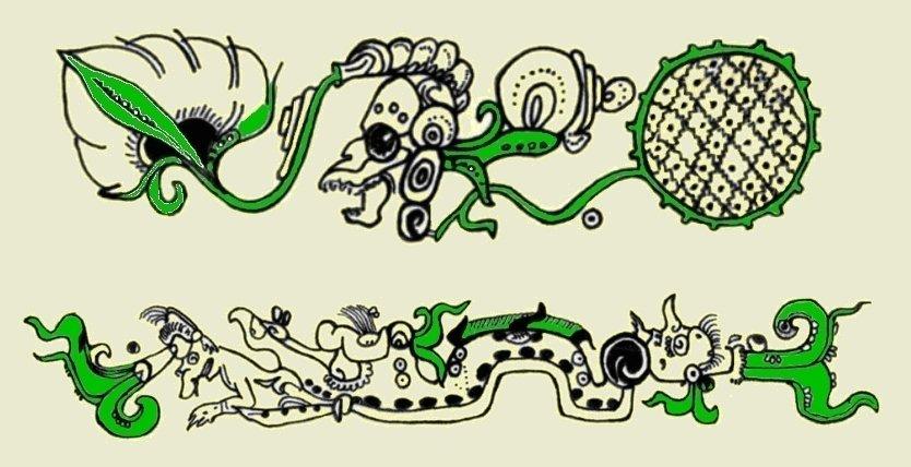 Raffigurazione del Mostro-Ninfea (sopra) e del Serpente-Ninfea (sotto) da vasi maya (da McDonald & Stross,l 2012, fig. 5a, p. 85 e fig. 6b, p. 86)