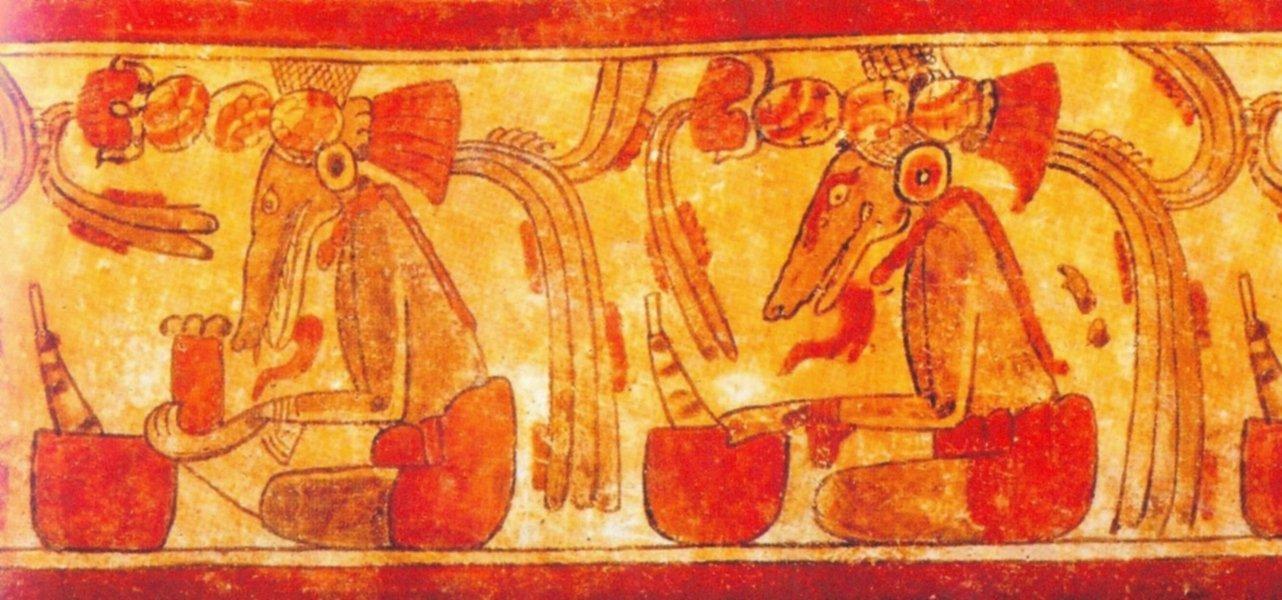 Vaso maya K9062, con raffigurazione di sciamani che si trasformano in volpi (da De La Garza, 2012, fig. 40, p. 197)
