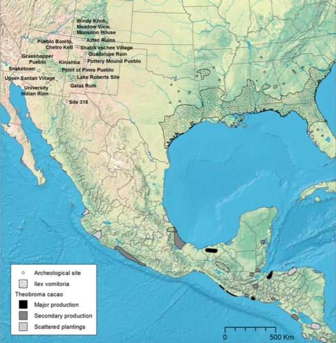 Mappa con evidenziata la distribuzione di Ilex vomitoria e T. cacao, e con indicate anche i siti archeologici del Sudovest degli Stati Uniti in cui sono stati ritrovati ceramiche risultate positive agli alcaloidi caffeinici (da Crown et al., 2015, fig. 1, in realtà per il cacao ripreso senza riferirlo da Bergmann, 1969, fig. 1, p. 86)