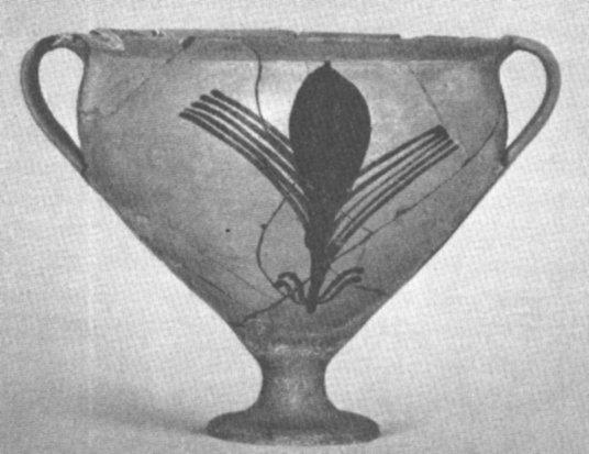 Probabile raffigurazione di sclerozio di segale cornuta fuoriuscente da una spiga, dipinta in una ceramica di Efira, cultura Micenea, 1500 a.C. Museo di Corinto, altezza 8,5 cm (da Demargne, 1988, fig. 330, p. 238)