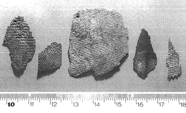 Frammenti di tessuti di canapa ritrovati in una tomba del periodo romano del sito di Albintimilium, Ventimiglia, datati al IV-V secolo d.C. (da Arobba et al., 1997-98, fig. 8, p. 331)