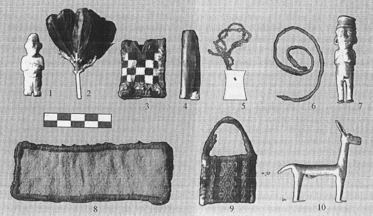 Oggetti ritrovati nella sepoltura della mummia di Aconcagua. L'oggetto 9 è la chuspa contenete foglie di coca (da Schobinger, 1998, fig. 14, p. 377).