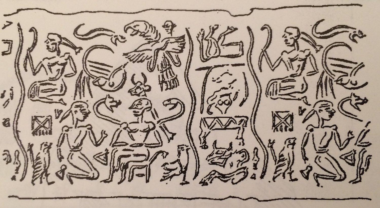 Sigillo mesopotamico con raffigurazioni inerenti l'Epopea di Etana (da Wilson, 2007, Tav. XIVa)