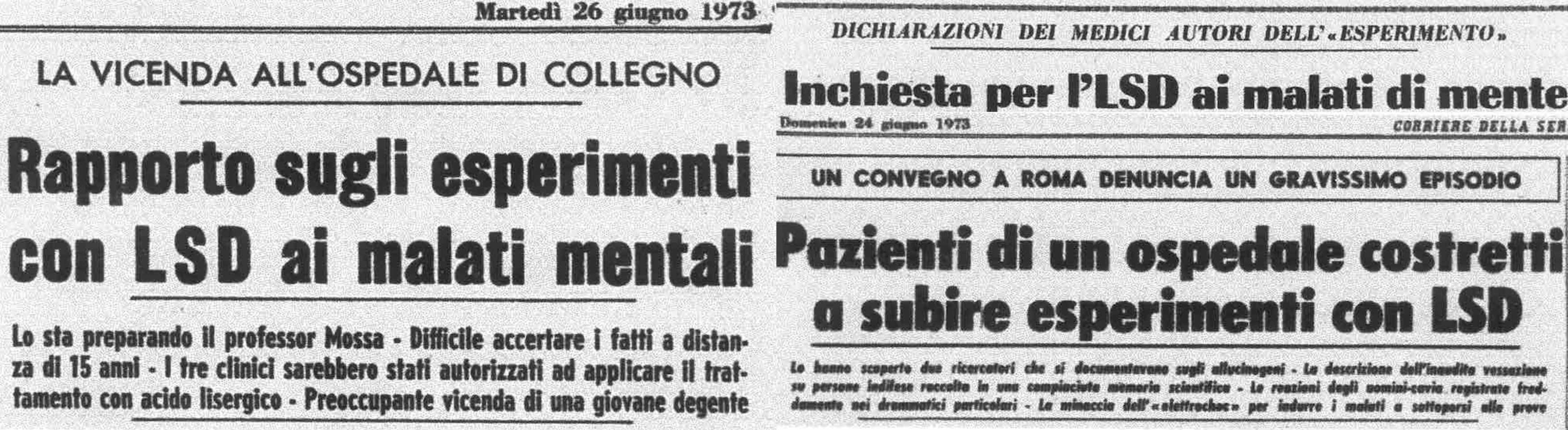Alcuni titoli del Corriere della Sera dell'estate 1973