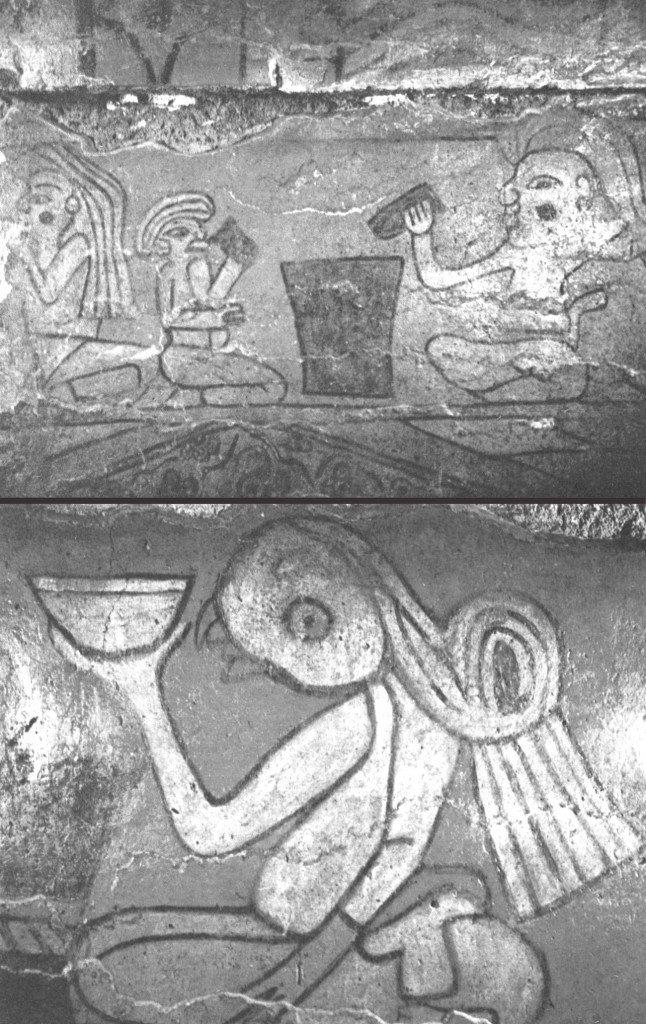 Particolari del Mural de los Bebedores della Piramide di Cholula, Puebla (Messico) (da Orellana, 1971b, Lam. IX)